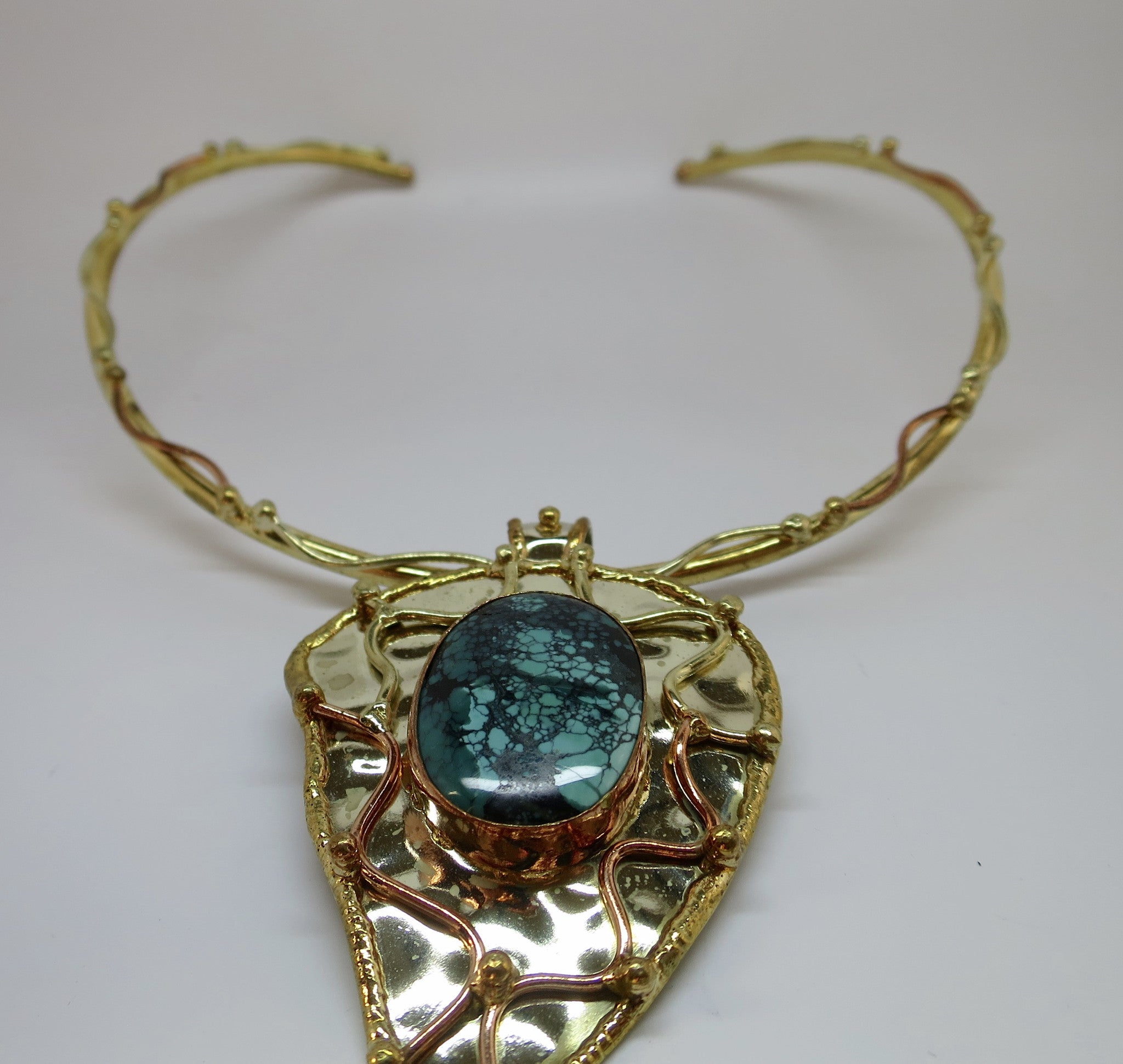 Allura Power Gems-Genuine Turquoise Brass & Copper Leaf Pendant - Pretty Princess Style  - 2