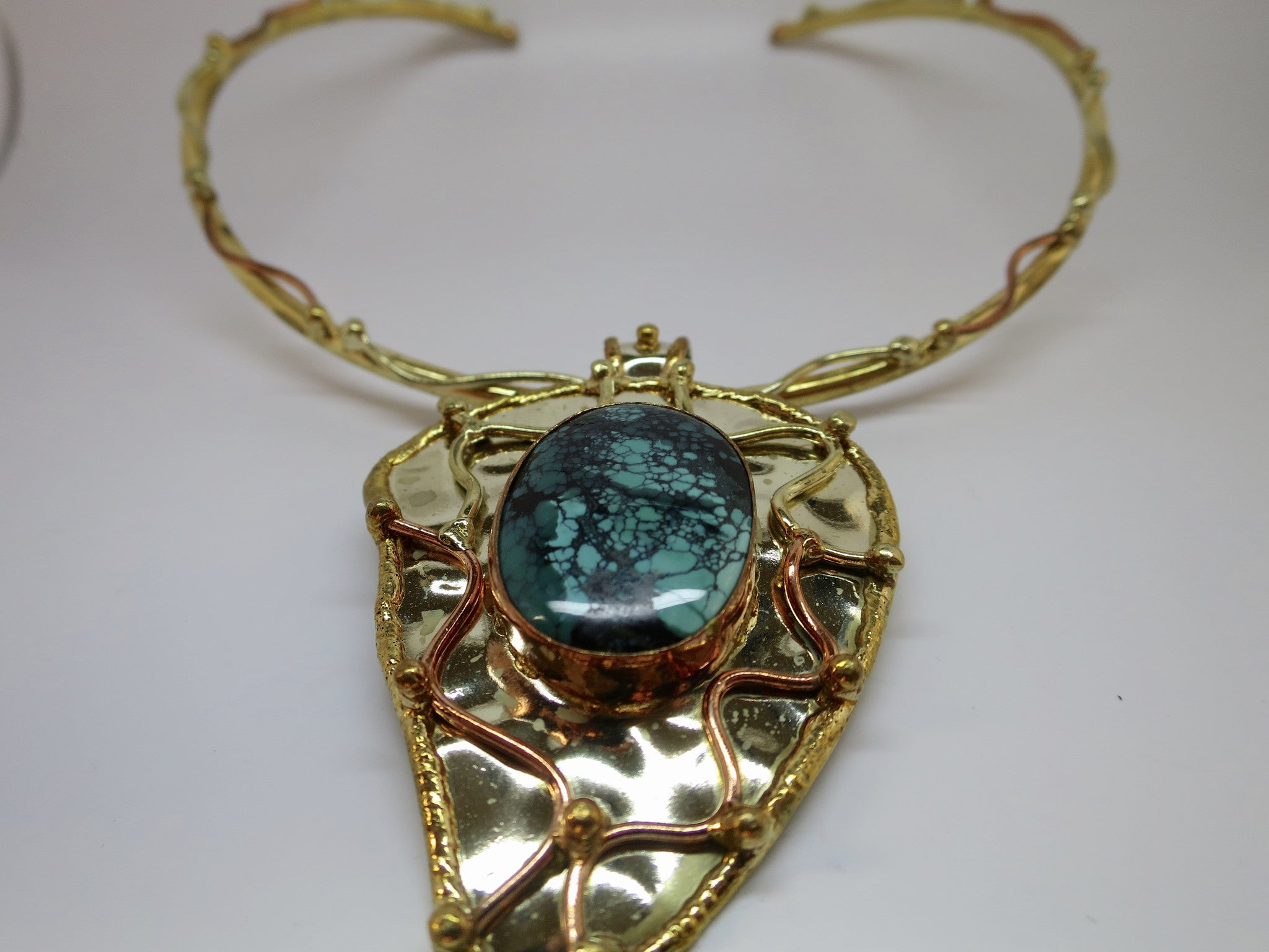 Allura Power Gems-Genuine Turquoise Brass & Copper Leaf Pendant - Pretty Princess Style  - 3