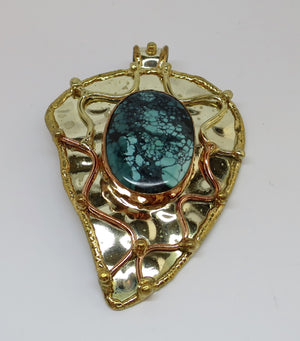 Allura Power Gems-Genuine Turquoise Brass & Copper Leaf Pendant - Pretty Princess Style  - 1