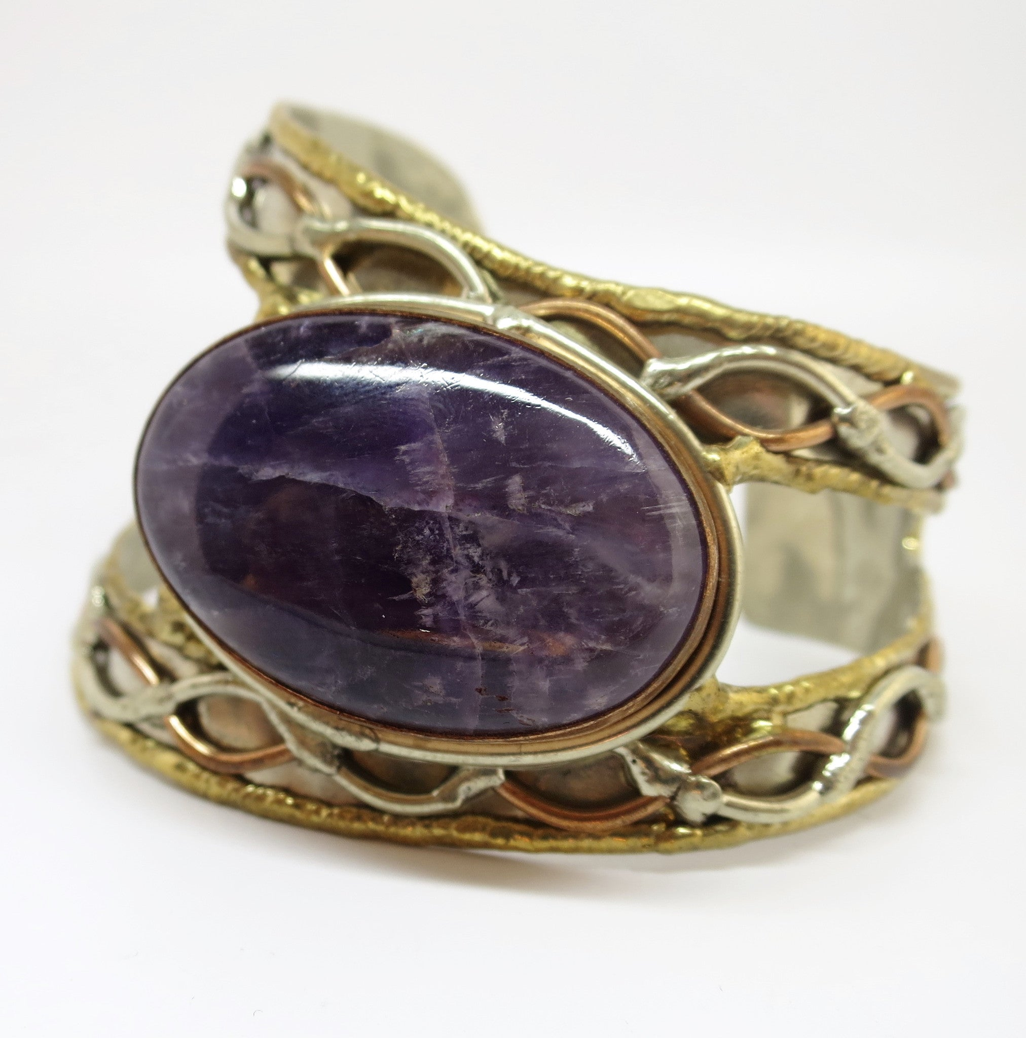 Allura Power Gems- Amethyst Brass & Copper Open Side Cuff - Pretty Princess Style  - 1