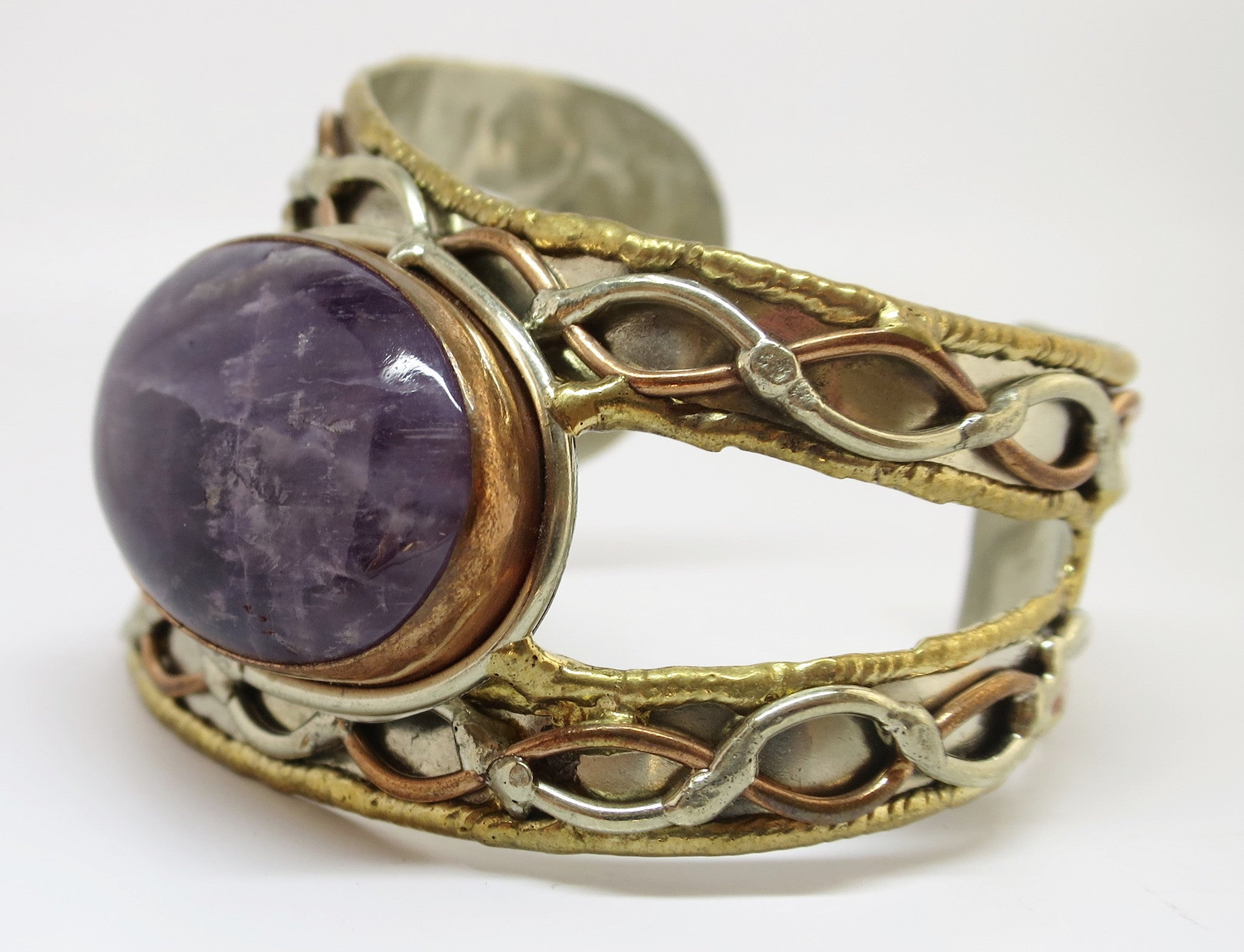Allura Power Gems- Amethyst Brass & Copper Open Side Cuff - Pretty Princess Style  - 2