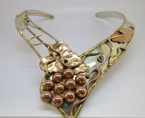 Allura Power Gems- Sculpted Brass & Copper Neck Cuff - Pretty Princess Style  - 1
