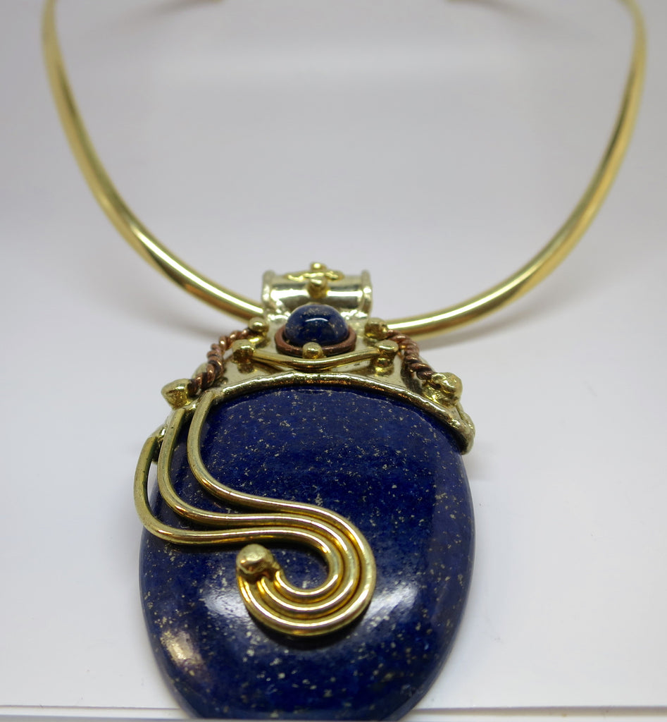 Allura Power Gems- Golden Brass  & Copper Lapis Lazuli Power Pendant - Pretty Princess Style