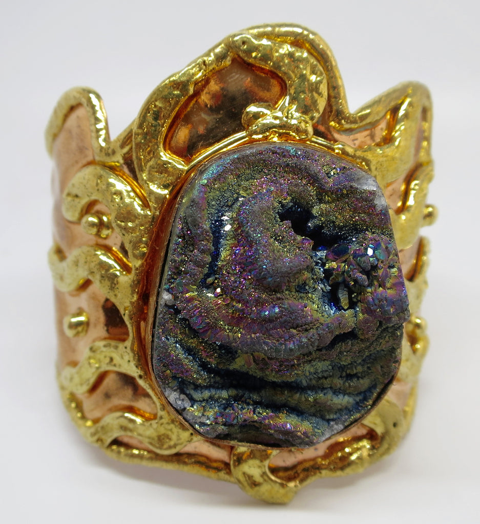 Allura Power Gems- Giant Druzy Brass & Copper Bracelet Cuff - Pretty Princess Style  - 1