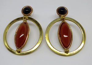 Allura Power Gems Carnelian & Onyx Brass & Copper Hoop Earrings - Pretty Princess Style