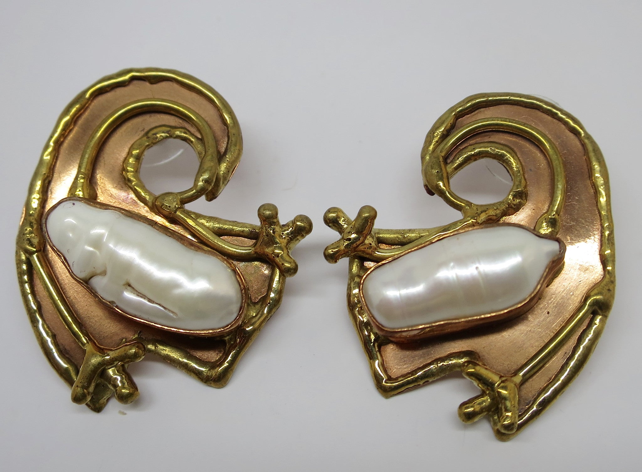 Allura Power Gems- Pearl Splendor Brass & Copper Earrings - Pretty Princess Style  - 1