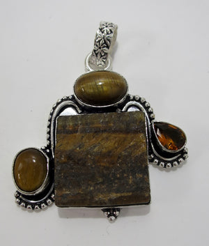Tiger Eye Sterling Silver Pendant - Pretty Princess Style