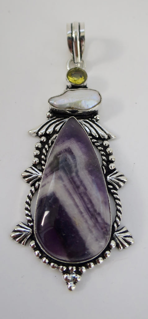 Amethyst, Citrine, Pearl Sterling Pendant - Pretty Princess Style