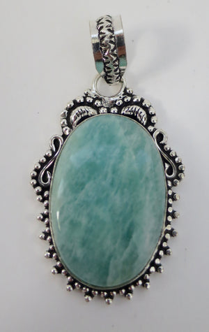 Amazonite Sterling Silver Pendant - Pretty Princess Style