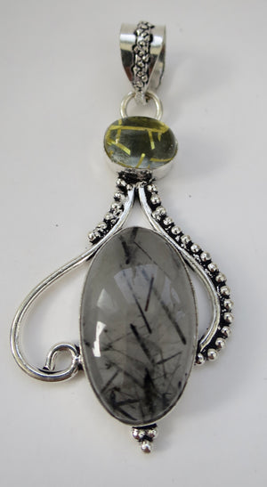 Tourmalated Quartz & Lemon Quartz Sterling Silver Pendant - Pretty Princess Style
