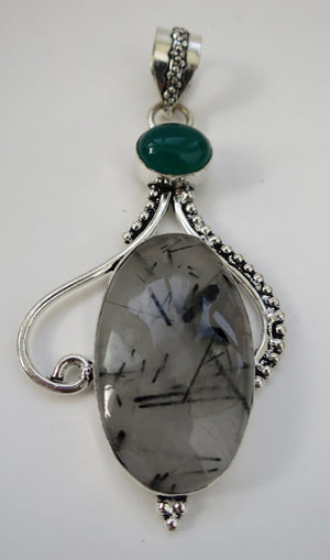 Tourmalated Quartz & Green Jade Sterling Silver Pendant - Pretty Princess Style