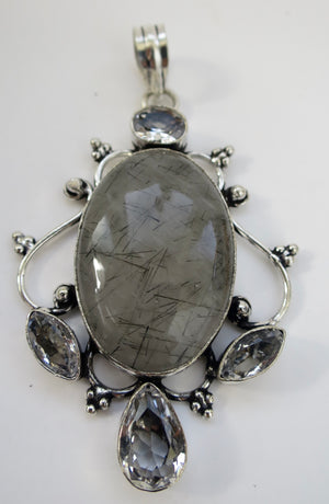 Toumalated Quartz Sterling Silver Pendant - Pretty Princess Style