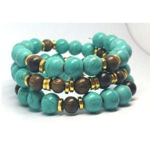 Native Turquoise Memory Wire Bracelet - Pretty Princess Style
