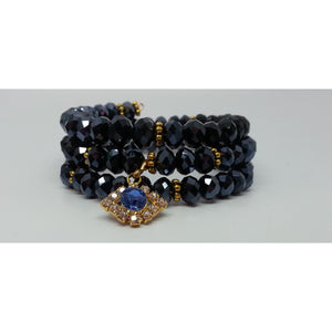 Crystal Evil Eye Protection Bracelet Black - Pretty Princess Style