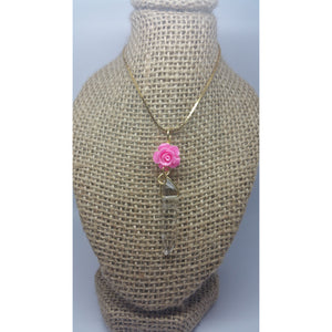 Quartz Power Pendant W Pink. Rose - Pretty Princess Style