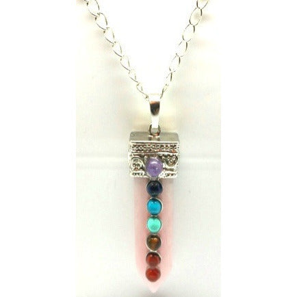 7 Chakra Flat Gemstone Point Pendant - Pretty Princess Style