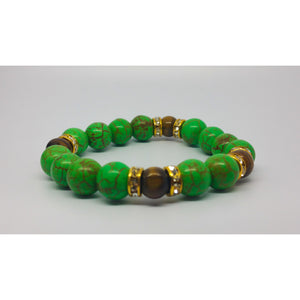 Green Howlite & Tigereye Prosperity Bracelet - Pretty Princess Style