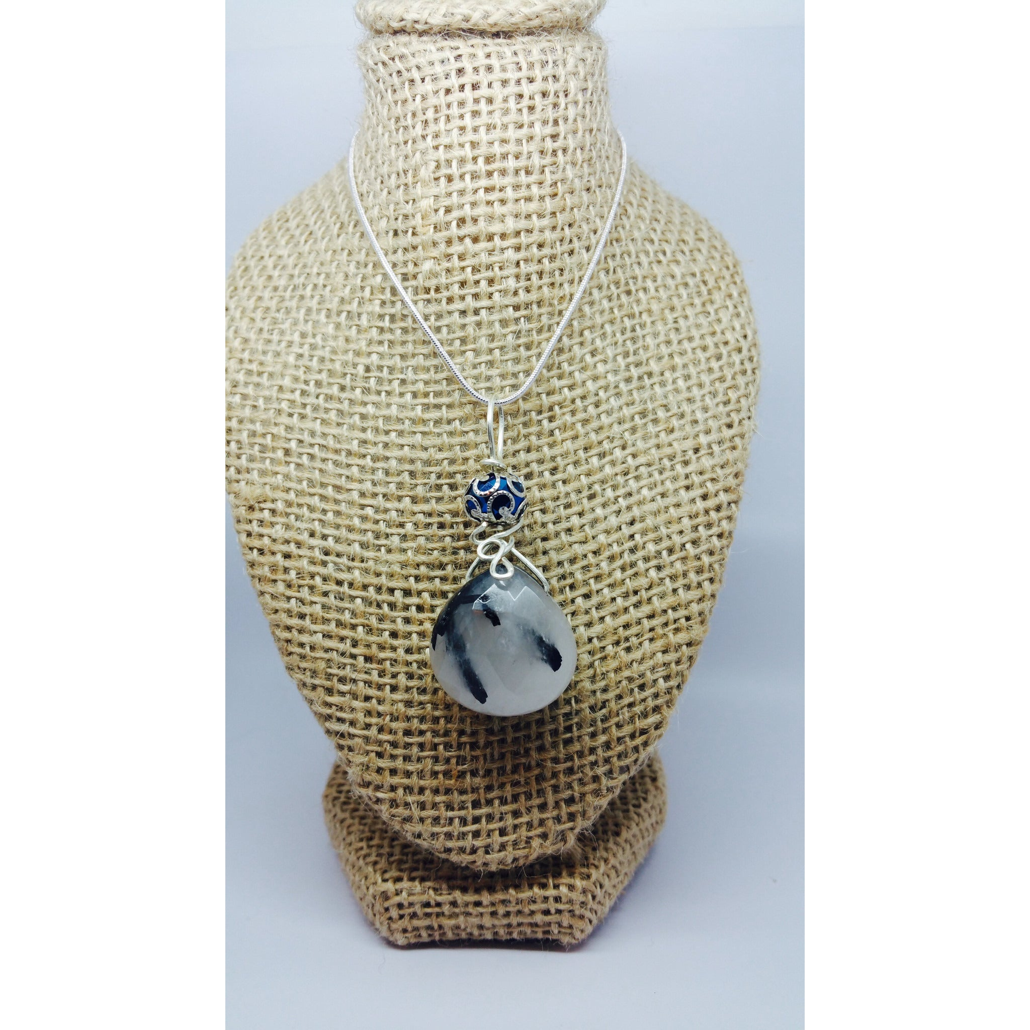 Wire wrapped Tourmalated Quartz Briolette Pendant - Pretty Princess Style