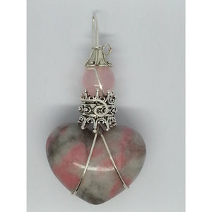 Rhodonite Heart Healer Power Pendant - Pretty Princess Style