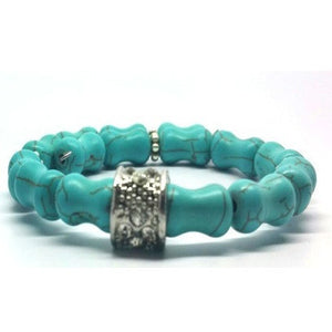 Turquoise Memory Wrap Bracelet- Single Row - Pretty Princess Style