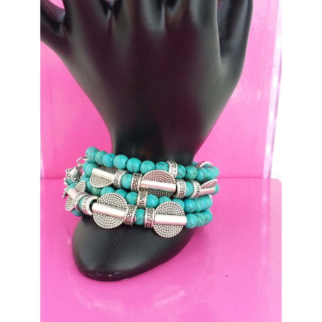 Blue Turquoise Howlite Calm Energy Bracelet -! - Pretty Princess Style