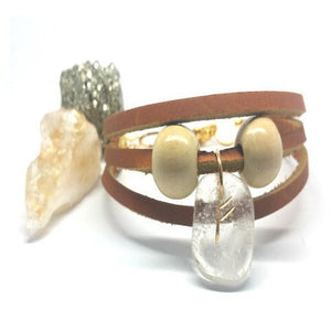 Quartz Rune Stone Leather Bracelet - Pretty Princess Style