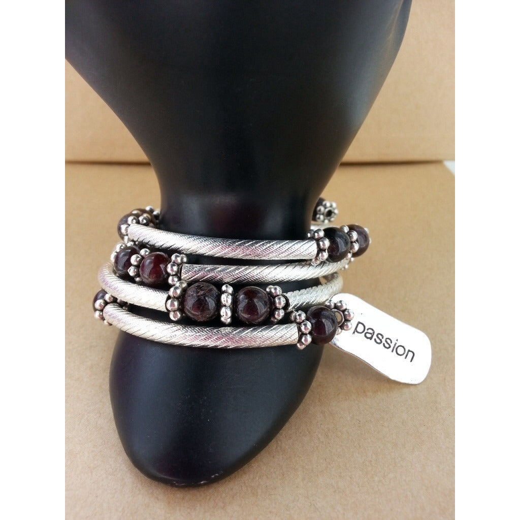 Garnet Bangle Bracelet-Live With Passion -Back ordered - Pretty Princess Style