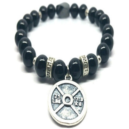 Black Agate Strength Fitness Power Bracelet- 8 mm - Pretty Princess Style