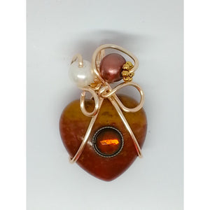 Rainforest Jasper Heart Pendant 1.75 - Pretty Princess Style