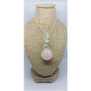 Rose Quartz  Wire Wrapped Facted Briolette Pendand - Pretty Princess Style