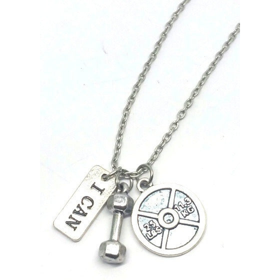 "I Can - Fitness Motivation Charm Necklace 18""in - Pretty Princess Style"