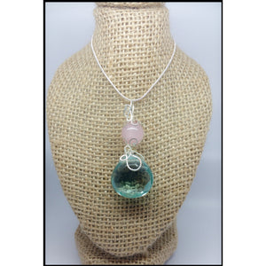 Aqua Aura & Rose Quartz Pendant - Pretty Princess Style