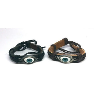 Evil Eye Protection Leather Cuff Bracelet - Pretty Princess Style