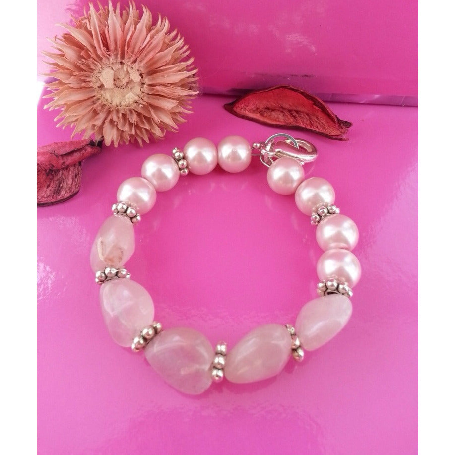 Rose Quartz Energy  Bracelet - Love  & Compassion - Pretty Princess Style