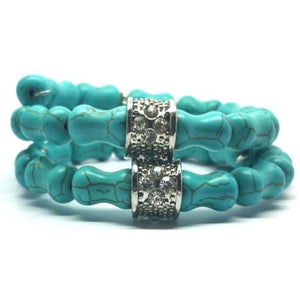 Turquoise Memory Wire Bracelet  -Double Wrap - Pretty Princess Style