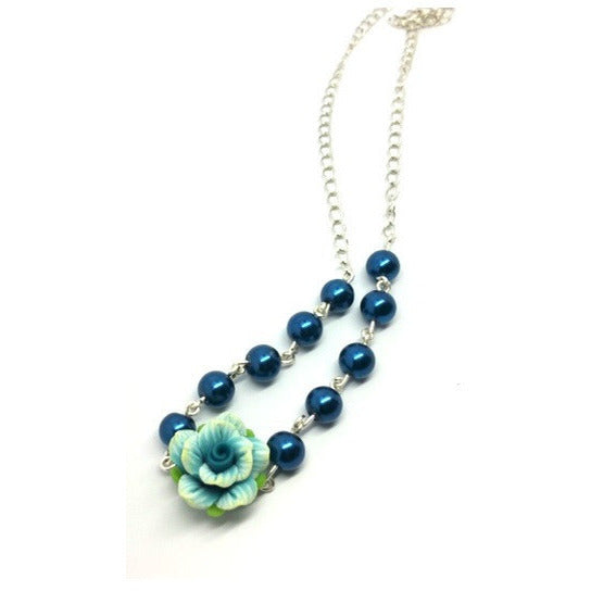 Tranquil Blue Rose & Pearl Necklace - Pretty Princess Style