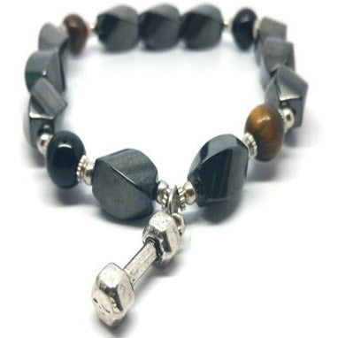 Triple Power Hematite Black Agate Tigers eye Fitness Strength  Bracelet - Pretty Princess Style
