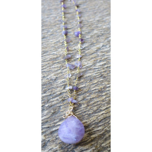 Amethyst Briolette Wire Wrapped Pendant W/ Amethyst Chip Neckchain - Pretty Princess Style