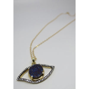 Gold Filled Evil Eye Genuine Druzy and Topaz Pendant Necklace - Pretty Princess Style  - 1