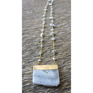 Agate Bar Pendant W/ Howlite Chip Necklace Chian - Pretty Princess Style