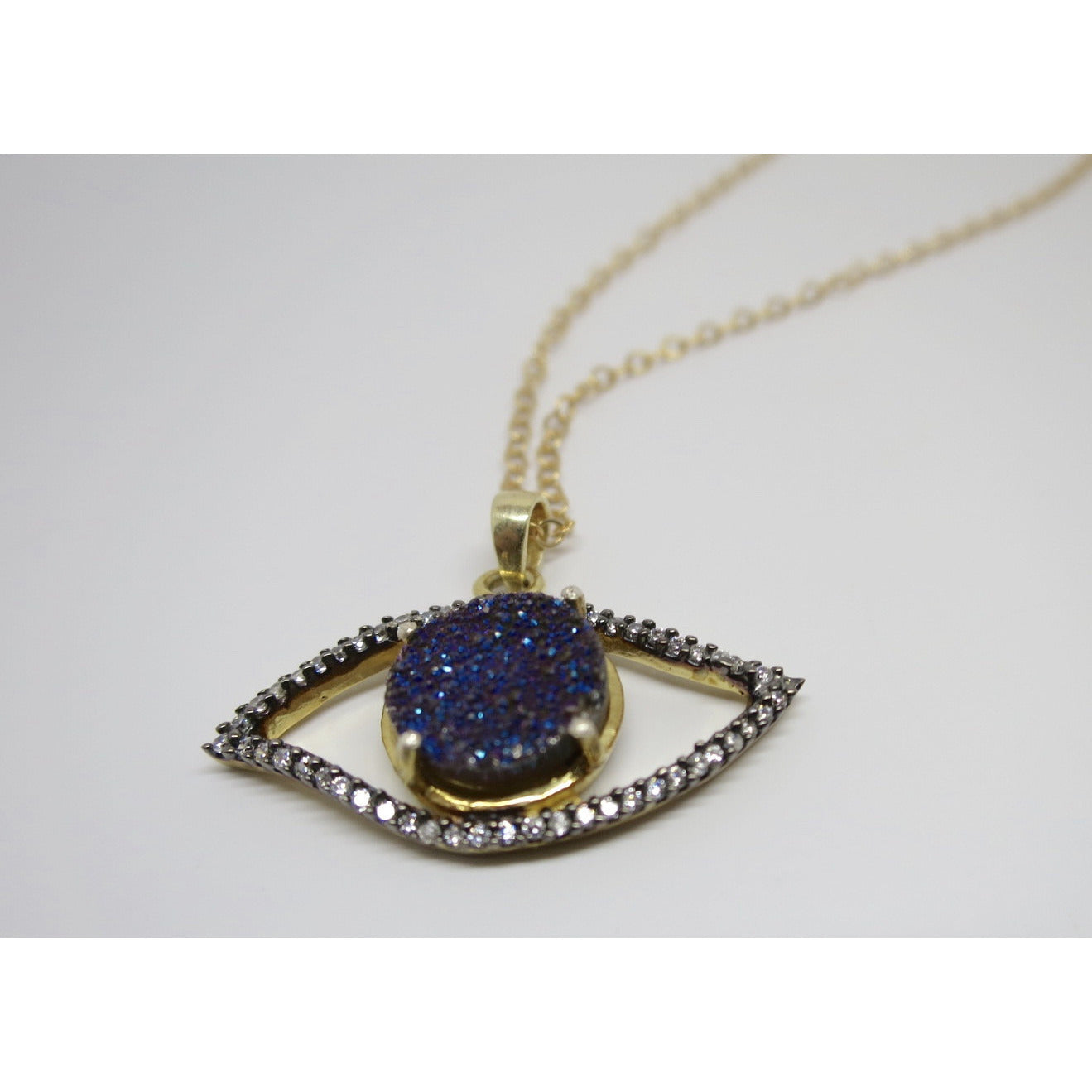 Gold Filled Evil Eye Genuine Druzy and Topaz Pendant Necklace - Pretty Princess Style  - 2