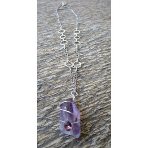 Raw Amethyst Chunk Pendant Necklace - Pretty Princess Style