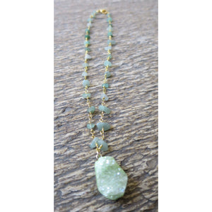Green Druzy Pendant On Aventurine Chip  Wire Wrapped Neckchain - Pretty Princess Style