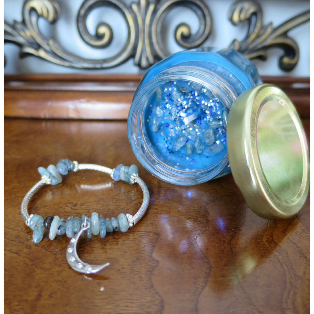 Mystic Scentuals- Crystal Empowerment Candle-Kyanite with Matching Crystal Intention Bracelet - Pretty Princess Style