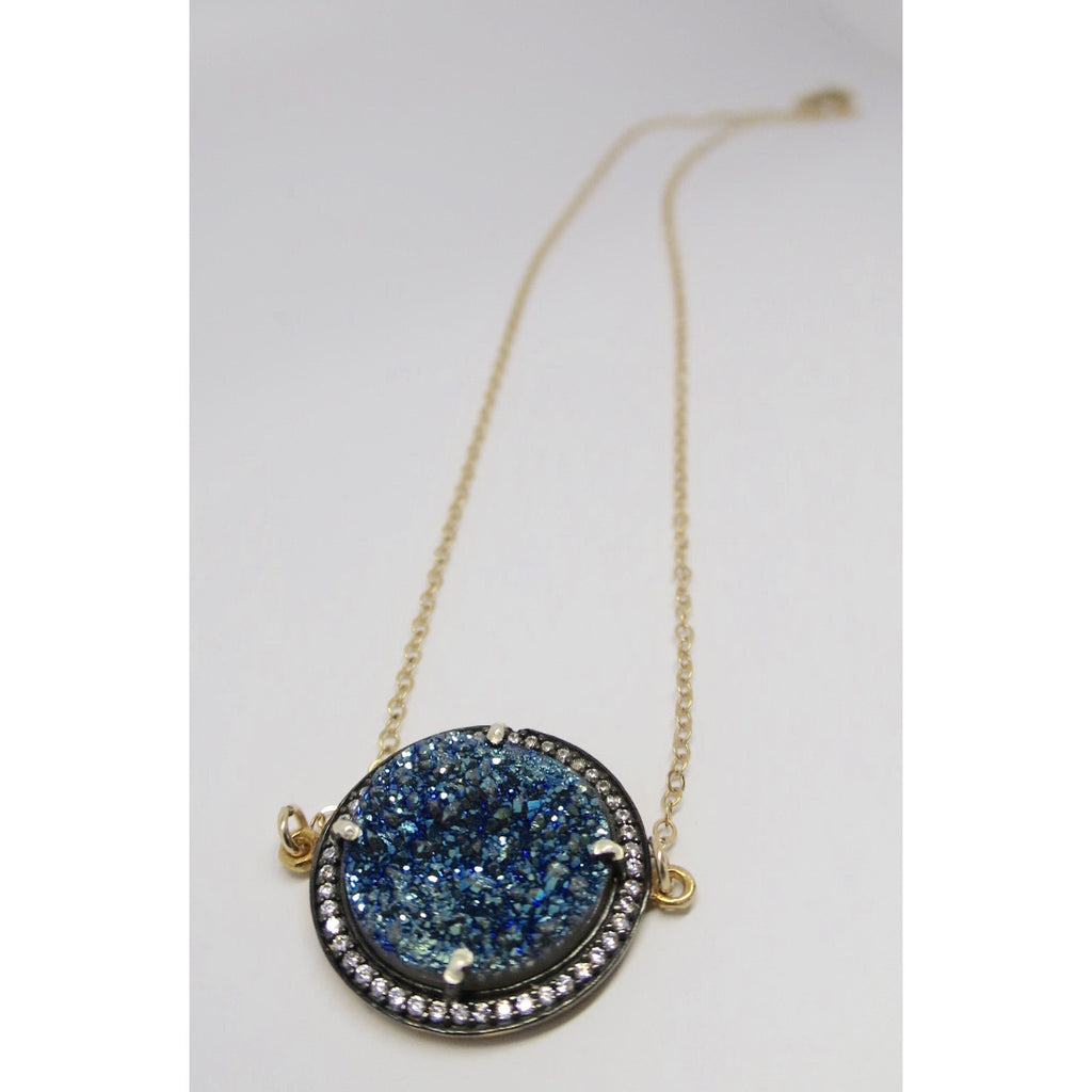 Gold Filled Round Blue Sparkle Druzy with Genuine Topaz - Pretty Princess Style  - 1