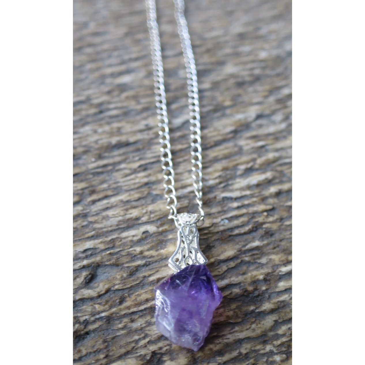 Amethyst Nugget Necklace - Pretty Princess Style