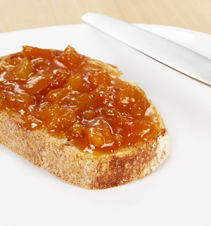 organic apricot jam | Apricot Up in the Moment | blenheim apricot jam with almond essence | toast | bread | knife