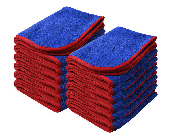 "NANOSKIN BLUE Power Shine Microfiber Towel w/ RED silk edge 16"" x 24"" 380GSM - 12pk"