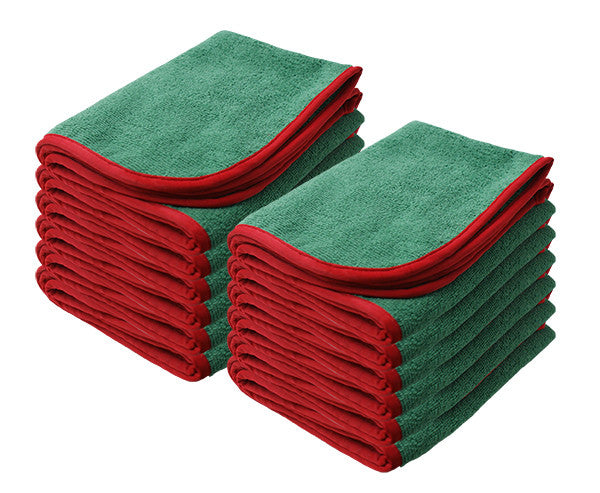 "GREEN Power Shine Microfiber Towel w/ Red silk edge 16"" x 24"" 380GSM - 12pk"