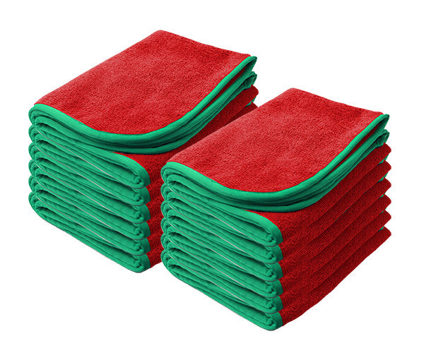 "RED Power Shine Microfiber Towel w/ Green silk edge 16"" x 24"" 380GSM - 12pk"